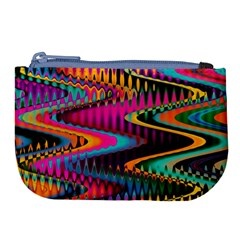 Multicolored Wave Distortion Zigzag Chevrons Large Coin Purse by EDDArt
