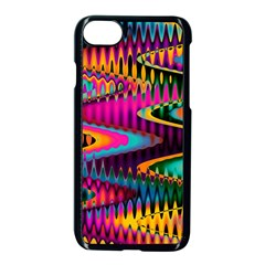 Multicolored Wave Distortion Zigzag Chevrons Apple Iphone 7 Seamless Case (black) by EDDArt