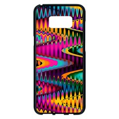 Multicolored Wave Distortion Zigzag Chevrons Samsung Galaxy S8 Plus Black Seamless Case by EDDArt