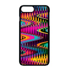 Multicolored Wave Distortion Zigzag Chevrons Apple Iphone 8 Plus Seamless Case (black) by EDDArt