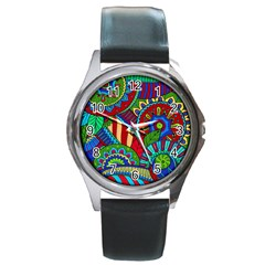Pop Art Paisley Flowers Ornaments Multicolored 2 Round Metal Watch by EDDArt