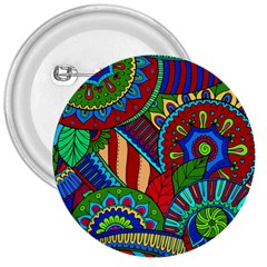 Pop Art Paisley Flowers Ornaments Multicolored 2 3  Buttons by EDDArt