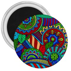 Pop Art Paisley Flowers Ornaments Multicolored 2 3  Magnets by EDDArt