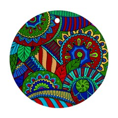 Pop Art Paisley Flowers Ornaments Multicolored 2 Ornament (round) by EDDArt
