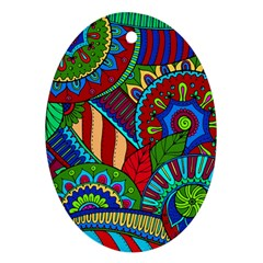 Pop Art Paisley Flowers Ornaments Multicolored 2 Ornament (oval) by EDDArt