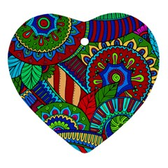 Pop Art Paisley Flowers Ornaments Multicolored 2 Ornament (heart) by EDDArt