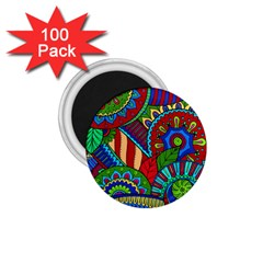 Pop Art Paisley Flowers Ornaments Multicolored 2 1 75  Magnets (100 Pack)  by EDDArt