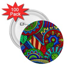Pop Art Paisley Flowers Ornaments Multicolored 2 2 25  Buttons (100 Pack)  by EDDArt