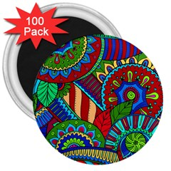 Pop Art Paisley Flowers Ornaments Multicolored 2 3  Magnets (100 Pack) by EDDArt
