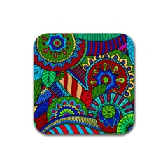 Pop Art Paisley Flowers Ornaments Multicolored 2 Rubber Square Coaster (4 Pack)  by EDDArt