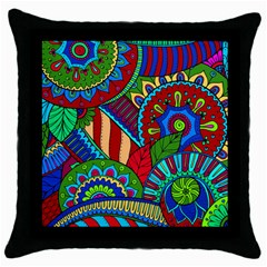 Pop Art Paisley Flowers Ornaments Multicolored 2 Throw Pillow Case (black) by EDDArt
