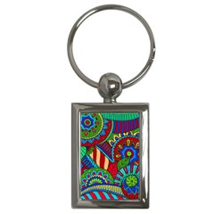 Pop Art Paisley Flowers Ornaments Multicolored 2 Key Chains (rectangle)  by EDDArt