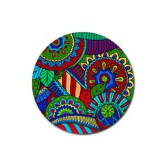 Pop Art Paisley Flowers Ornaments Multicolored 2 Rubber Coaster (round)  by EDDArt