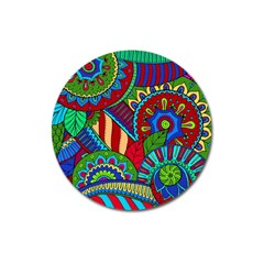 Pop Art Paisley Flowers Ornaments Multicolored 2 Magnet 3  (round) by EDDArt