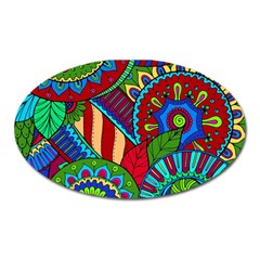 Pop Art Paisley Flowers Ornaments Multicolored 2 Oval Magnet by EDDArt