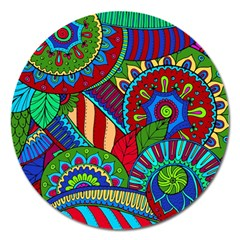 Pop Art Paisley Flowers Ornaments Multicolored 2 Magnet 5  (round) by EDDArt