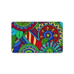 Pop Art Paisley Flowers Ornaments Multicolored 2 Magnet (name Card) by EDDArt