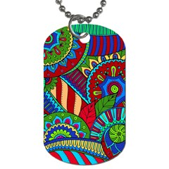 Pop Art Paisley Flowers Ornaments Multicolored 2 Dog Tag (one Side) by EDDArt
