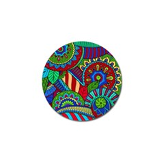Pop Art Paisley Flowers Ornaments Multicolored 2 Golf Ball Marker by EDDArt
