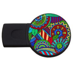 Pop Art Paisley Flowers Ornaments Multicolored 2 Usb Flash Drive Round (2 Gb) by EDDArt