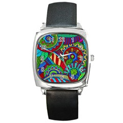 Pop Art Paisley Flowers Ornaments Multicolored 2 Square Metal Watch by EDDArt