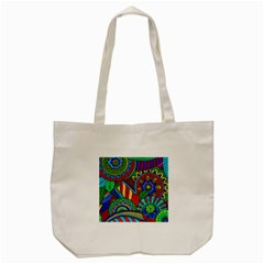 Pop Art Paisley Flowers Ornaments Multicolored 2 Tote Bag (cream) by EDDArt