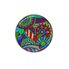 Pop Art Paisley Flowers Ornaments Multicolored 2 Hat Clip Ball Marker (4 Pack) by EDDArt