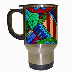 Pop Art Paisley Flowers Ornaments Multicolored 2 Travel Mugs (white) by EDDArt