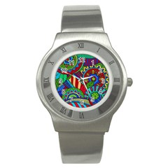 Pop Art Paisley Flowers Ornaments Multicolored 2 Stainless Steel Watch by EDDArt