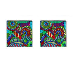 Pop Art Paisley Flowers Ornaments Multicolored 2 Cufflinks (square) by EDDArt
