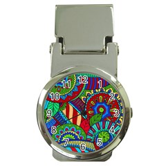 Pop Art Paisley Flowers Ornaments Multicolored 2 Money Clip Watches by EDDArt