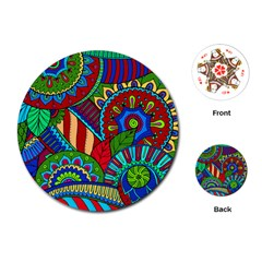 Pop Art Paisley Flowers Ornaments Multicolored 2 Playing Cards (round)  by EDDArt