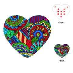 Pop Art Paisley Flowers Ornaments Multicolored 2 Playing Cards (heart)  by EDDArt