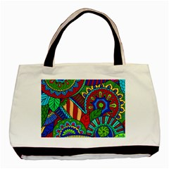 Pop Art Paisley Flowers Ornaments Multicolored 2 Basic Tote Bag by EDDArt