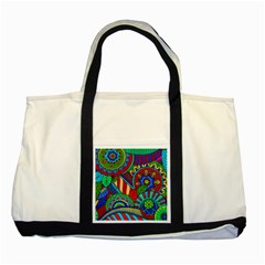 Pop Art Paisley Flowers Ornaments Multicolored 2 Two Tone Tote Bag by EDDArt