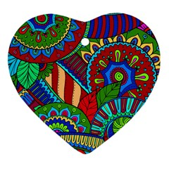 Pop Art Paisley Flowers Ornaments Multicolored 2 Heart Ornament (two Sides) by EDDArt