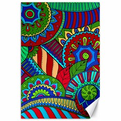 Pop Art Paisley Flowers Ornaments Multicolored 2 Canvas 20  X 30   by EDDArt