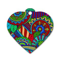 Pop Art Paisley Flowers Ornaments Multicolored 2 Dog Tag Heart (two Sides) by EDDArt