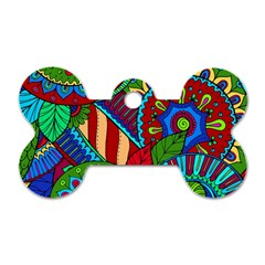 Pop Art Paisley Flowers Ornaments Multicolored 2 Dog Tag Bone (two Sides) by EDDArt