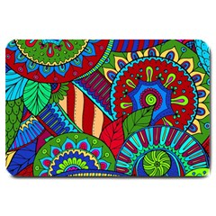 Pop Art Paisley Flowers Ornaments Multicolored 2 Large Doormat  by EDDArt