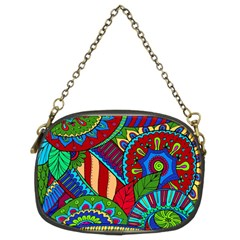 Pop Art Paisley Flowers Ornaments Multicolored 2 Chain Purses (two Sides)  by EDDArt