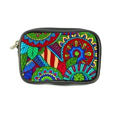 Pop Art Paisley Flowers Ornaments Multicolored 2 Coin Purse by EDDArt
