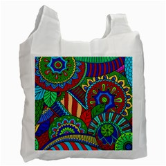 Pop Art Paisley Flowers Ornaments Multicolored 2 Recycle Bag (two Side)  by EDDArt