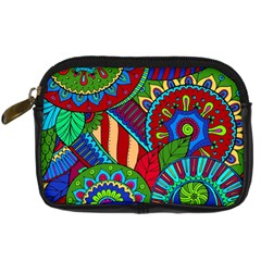 Pop Art Paisley Flowers Ornaments Multicolored 2 Digital Camera Cases by EDDArt