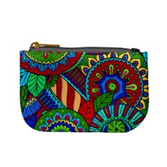 Pop Art Paisley Flowers Ornaments Multicolored 2 Mini Coin Purses by EDDArt