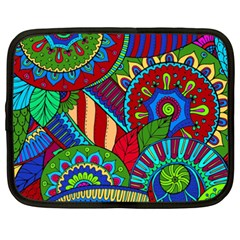 Pop Art Paisley Flowers Ornaments Multicolored 2 Netbook Case (xxl)  by EDDArt