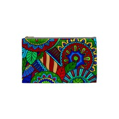 Pop Art Paisley Flowers Ornaments Multicolored 2 Cosmetic Bag (small) by EDDArt