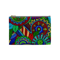 Pop Art Paisley Flowers Ornaments Multicolored 2 Cosmetic Bag (medium) by EDDArt