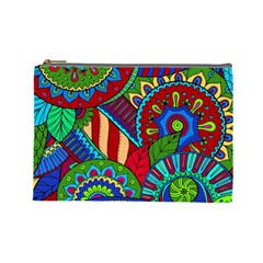 Pop Art Paisley Flowers Ornaments Multicolored 2 Cosmetic Bag (large) by EDDArt