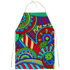 Pop Art Paisley Flowers Ornaments Multicolored 2 Full Print Aprons by EDDArt